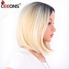 купить Leeons African American Bob Wigs Short Straight Wigs For Women Wig Shoulder Length Heat Resistant Synthetic Black Brown Hair по цене 274.2 рублей