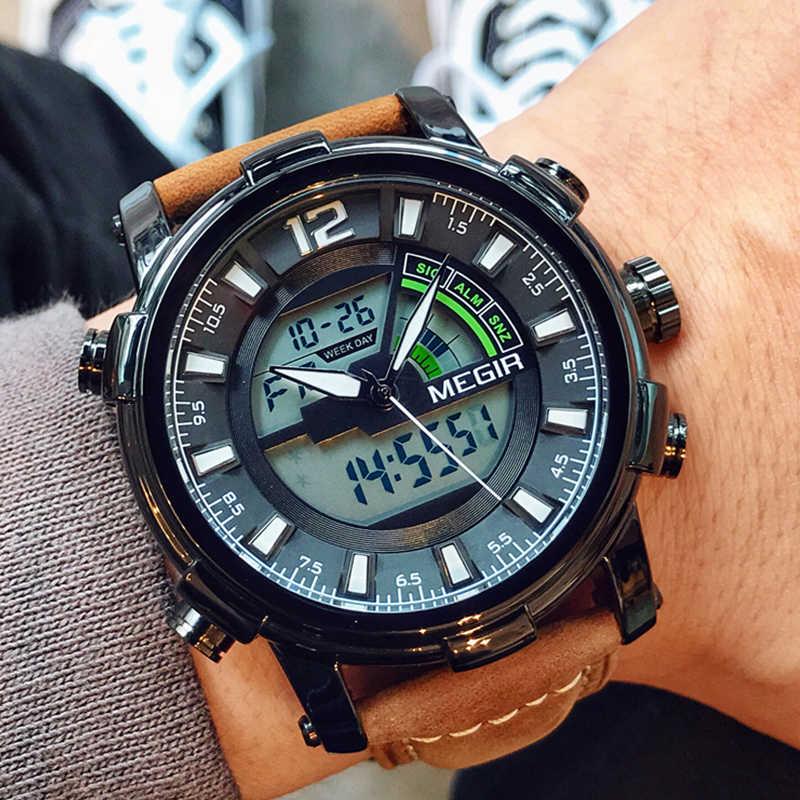 Reloj deportivo MEGIR, Reloj Digital de doble pantalla de cuarzo, Reloj deportivo, Reloj militar para Hombre, Reloj de pulsera