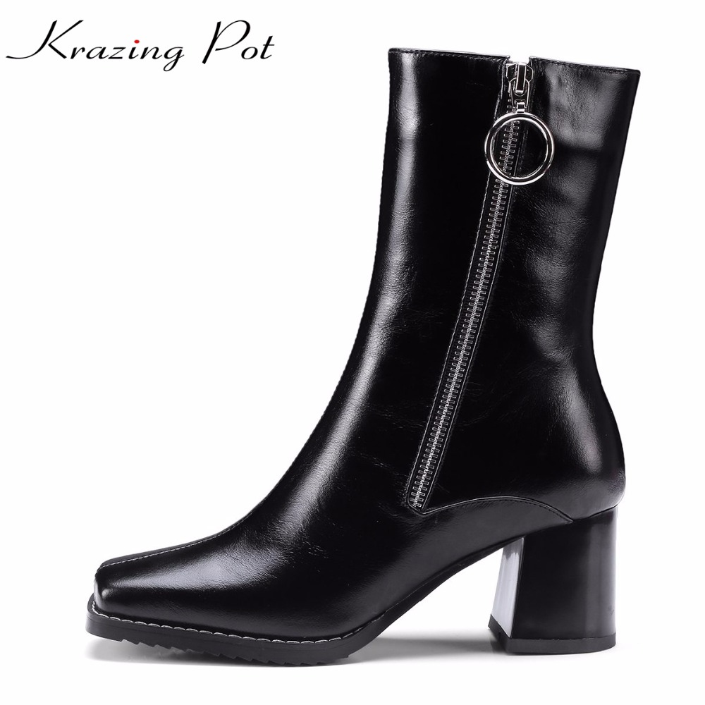 Krazing Pot cow leather gladitor keep warm round buckle winter boots plus size square toe high heels women mid-calf boots L03 double buckle cross straps mid calf boots
