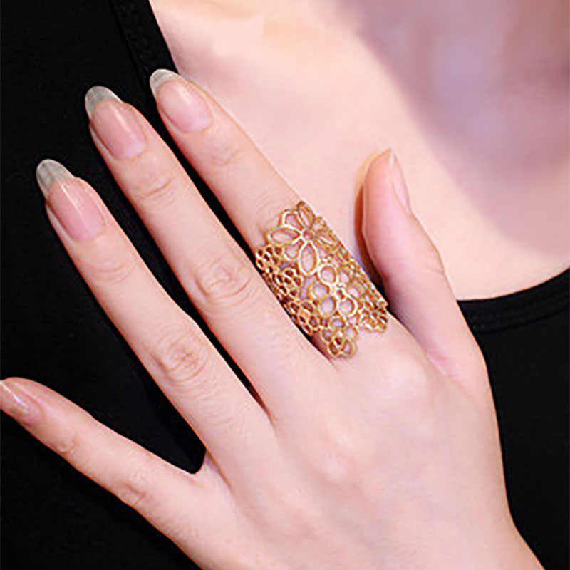 Trendy Hollow Flower Ring Black Gold Silver Midi Finger Knuckle Rings For Women Fashion Punk Vintage Rose Jewelry Accessories