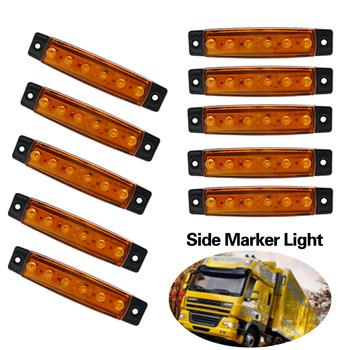 10 sztuk 12V 6Led bursztynowe światło obrysowe boczne przyczepa Marker lekka ciężarówka tylna boczna lampa obrysowa bursztynowe obrysówki Led światło dla ciężarówki karawana tanie i dobre opinie Vehicleader None 100 *20 *8mm LG192502 Inne