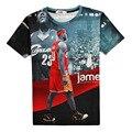 Estilo de verano Impreso Estrella Lebron James Rojo 3D Graphic T-shirt de Diseño de Moda de Manga Corta Camisetas Para Hombre Cuello Redondo Tops Tallas grandes