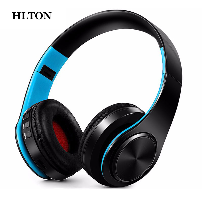 HLTON Portable 2 In 1 Universal Wireless Bluetooth Stereo Headphone With Mic Support TF Card Headset For Smartphone Computer 20w bluetooth4 1 speaker wireless hifi portable feature fashionable appearance design and high 5000mah support tf card with mic