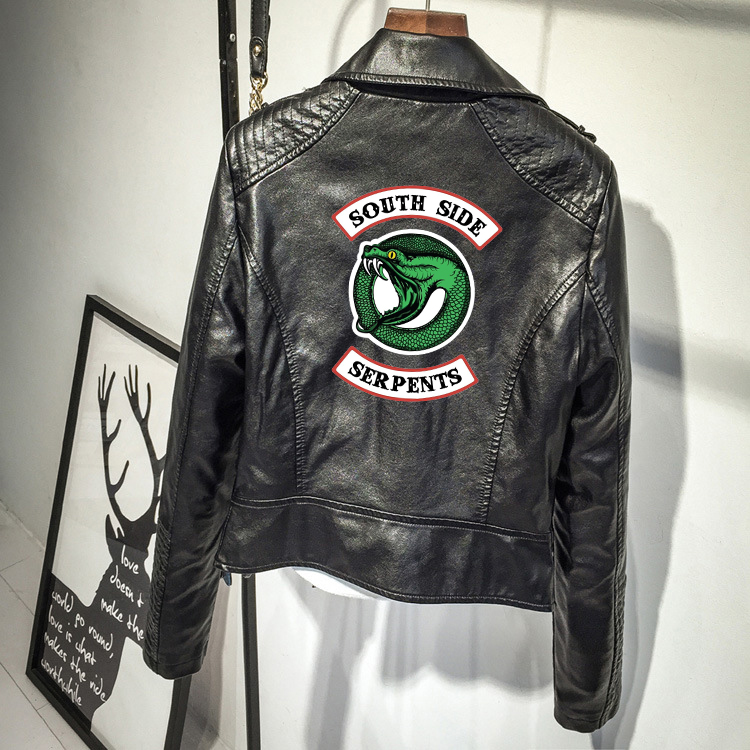 Veste de cuir synthétique polyuréthane marron noire de Serpents de Riverdale de Southside vêtements de Streetwear de Serpents de Riverdale de femmes