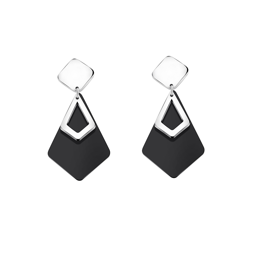 GORGEOUS TALE High Sales Women Jewelry Modern Design Black Acrylic Charms Matching with Cold Metal Appealing Female Drop Earring