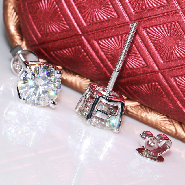 18K 750 White Gold 2CT Lab Grown Diamond Earrings