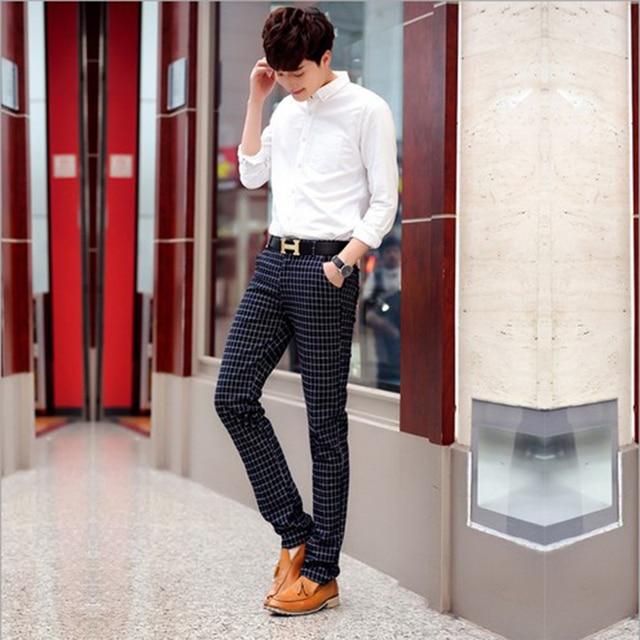 Nuevo 2016 hombres flacos pantalones de tela escocesa ocasional delgada hombres pantalones hombres pantalones de tela escocesa a cuadros pantalones casuales de negocios pantalones de algodón delgado