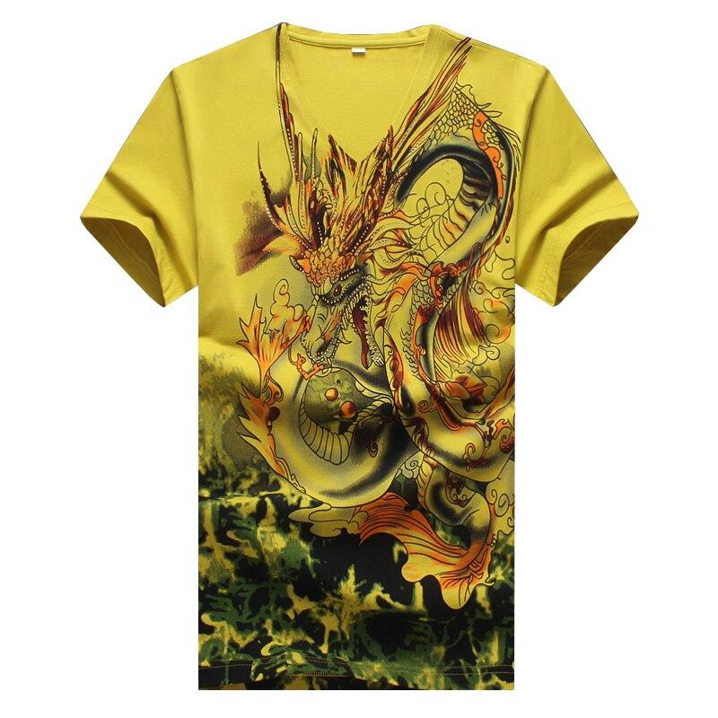 2019 Nouveaux hommes D'été À Manches Courtes T-shirt De Style Chinois Dragon Imprimé T-shirt Pour Hommes De Haute Qualité Hommes décontracté haut en coton T-shirts 5XL