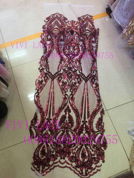 JLA003# dark red sequin new fashion show mesh tulle embroidery lace fabric for party/evening dress,
