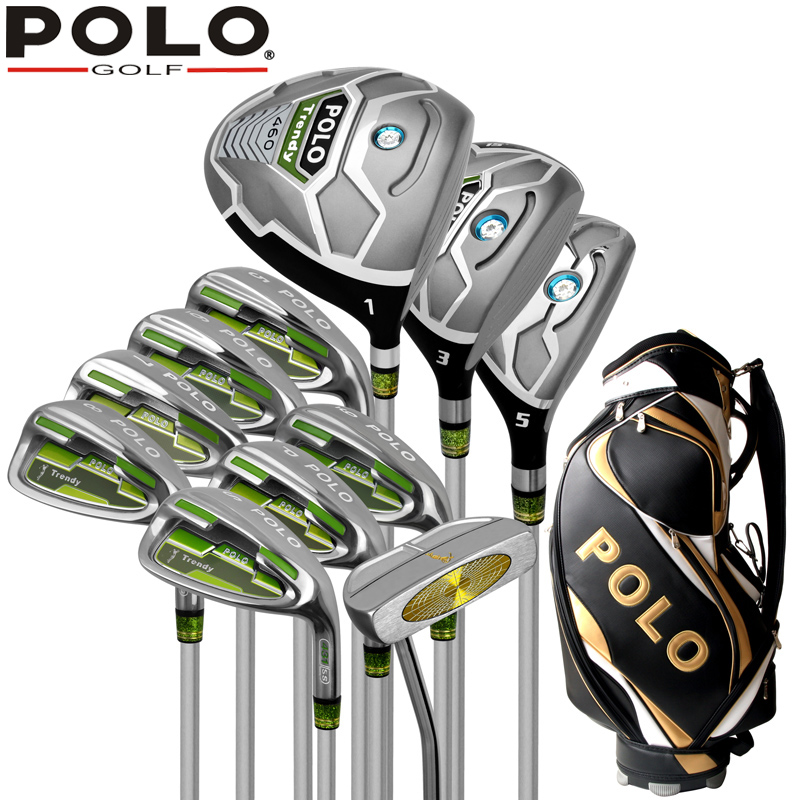Genuine POLO New Golf Complete 11PCS Clubs Set and Standard Bag High Quality Putter Wood Iron Men Golf Stainless Ball Package famous brand polo golf travel wheels standard stand caddy bag complete golf set bag nylon golf cart bag staff cart golf bags