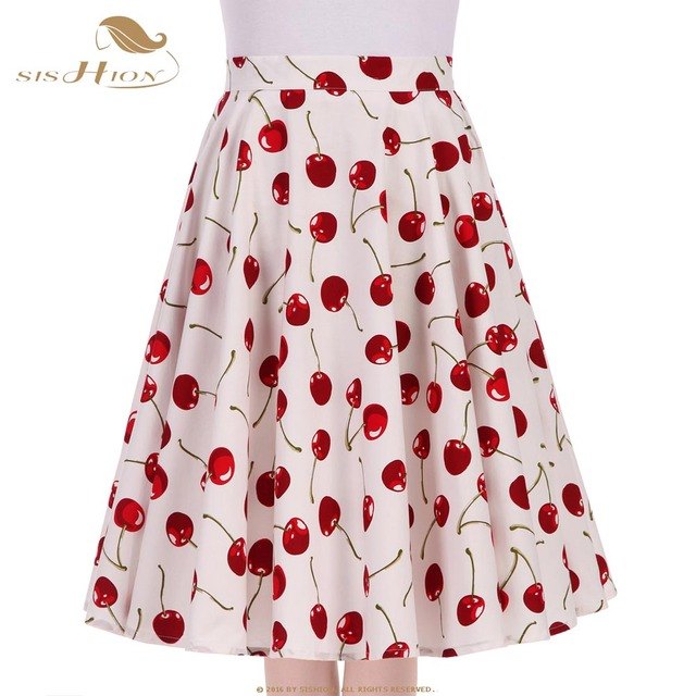89bf7faf822 SISHION Big Swing 50s Floral Vintage Skirt S-XXL 2017 Women Summer Blue  White Black Cherry Print Dots High Waist Skirts VD0576