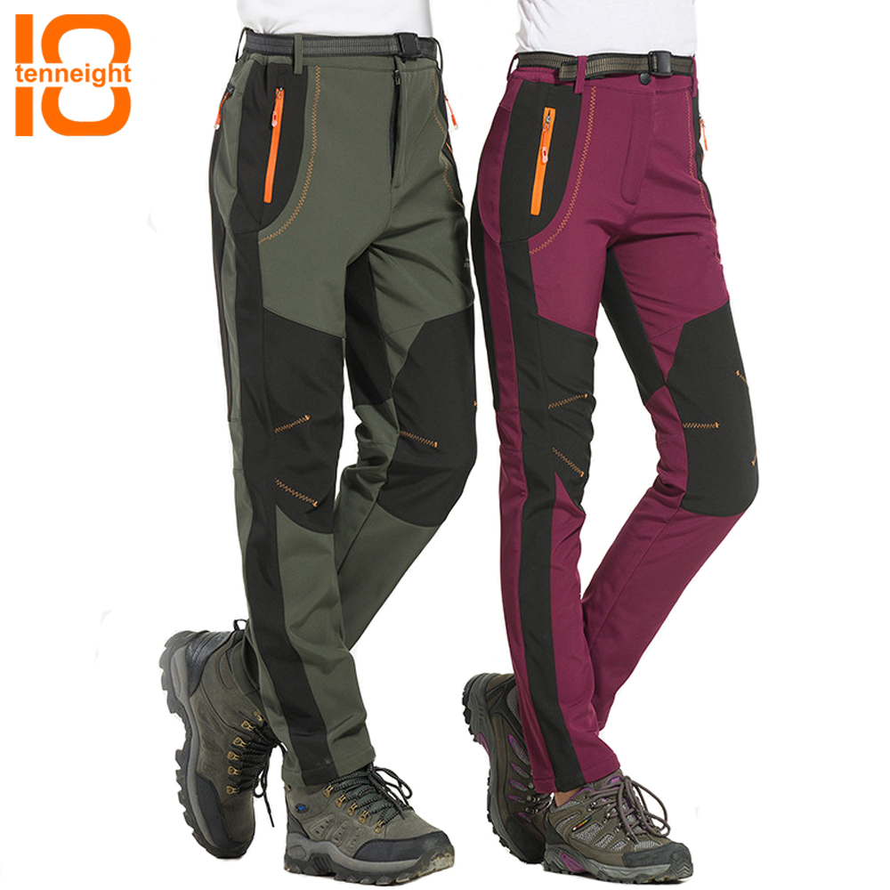 купить TENNEIGHT NEW Winter Men Women Hiking Pants Waterproof Windproof Thermal Mountain Trekking Ski Pant Climbing softshell trousers недорого