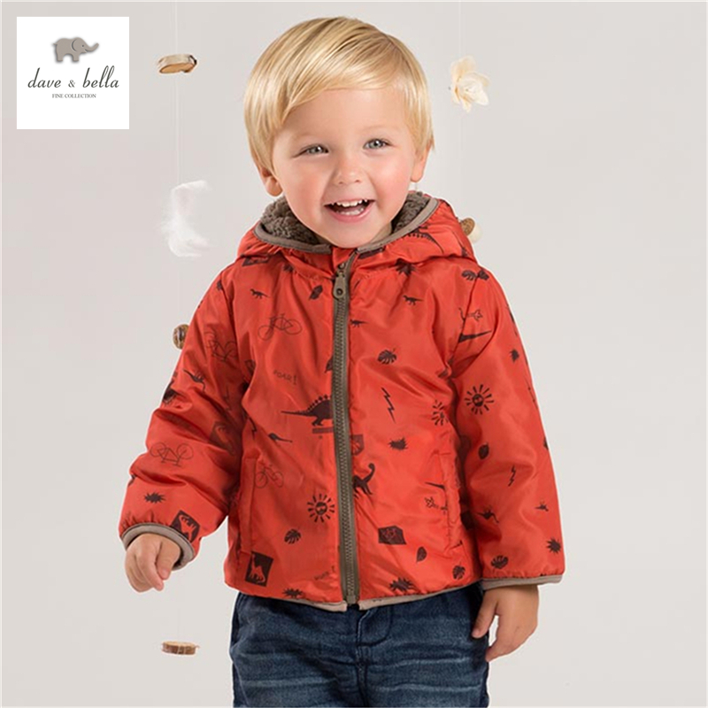 DB4695 davebella autumn baby boys orange dinosaur printed coat grid plaid hooded outerwear kid coat