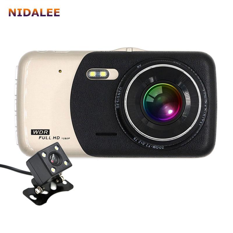 Prix pour 2017 Nouveau 4.0 pouces Double lentille Voiture DVR Caméra Full HD 1080 P Auto Dash Cam Enregistreur Vidéo Avec LED Night Vision Vue Arrière Caméras