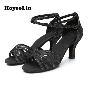 New Ladies Mid Heels Latin Dance Shoes Adults Women Tango Salsa Party Performance Shoes Ballroom Dancing Sandals