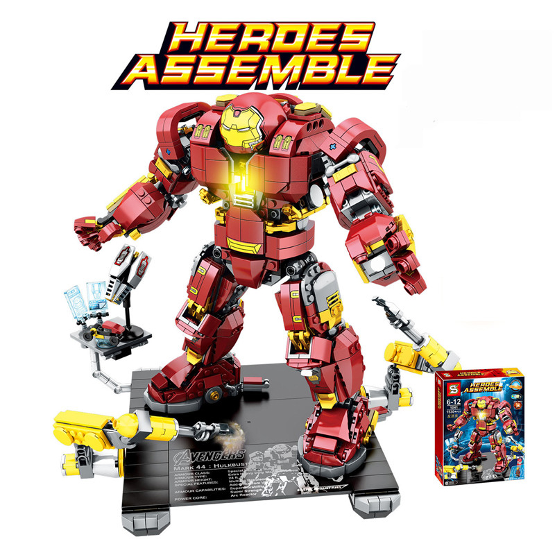 1530Pcs LEGOING Marvel Avengers Super Heros Series Iron Man Anti Hulk Mech Model Building Blocks Toys For Boys Bricks Blocks Set 8 in 1 military ship building blocks toys for boys