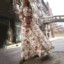 все цены на 2019 New Bohemian Long Dress Floral Print Seven-point Sleeves Lantern Sleeves Chiffon Dress Beauty Lady Beautiful Dress онлайн