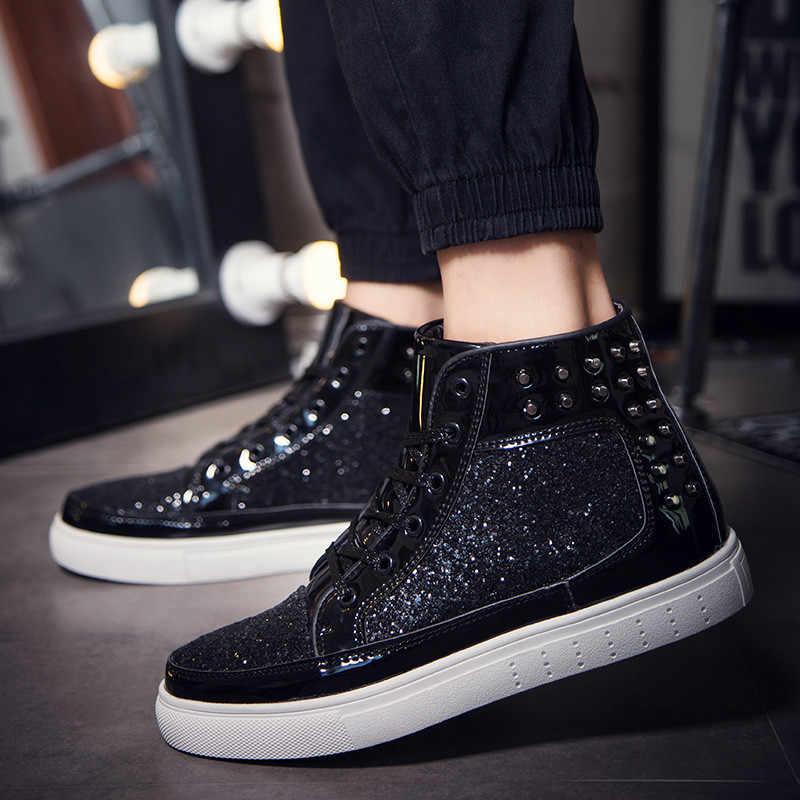 PINSEN 2020 yeni tasarım sonbahar çizmeler kadın moda Flats perçin Sequins parlak ayakkabı deri rahat ayakkabılar yarım çizmeler kadınlar için