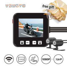 VSYSTO motorcycle DVR E6 wifi front 1080p  FULLHD and rear view 720p HD video dash cam for car&motorbike
