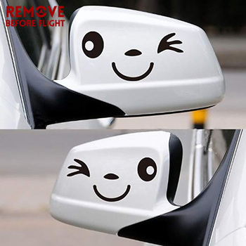 1 Pair Cute Smile Face Reflective Vinyl Car Sticker car styling Cartoon stickers Decal for Auto Car rearview mirror image