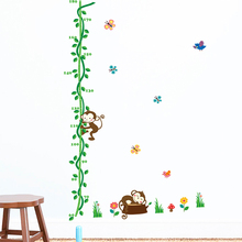Cartoon Sleeping Monkeys Height Measure Wall Stickers Kids Nursery Rooms Decor Flower Height Chart PVC DIY Wall Mural Art Decals цена