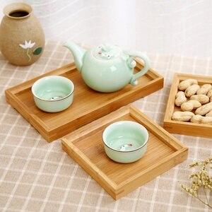 Bamboo+Plywood Square Food Tray Solid Wood Tea Set Home Breakfast Cake Storage Trays Flower Pot Bonsai Gardening Holder(China)