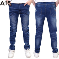 A15大きな男の子のジーンズ子供パンツ子供のズボン韓国子供服男の子ジーンズパンツ十代の少年デニムパンツ年齢10 12 13 14