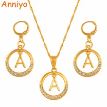 купить Anniyo A-Z Gold Color Letters Necklace With Rhinestone Initial for Women Alphabet Pendant English Letter Jewelry #131506S дешево