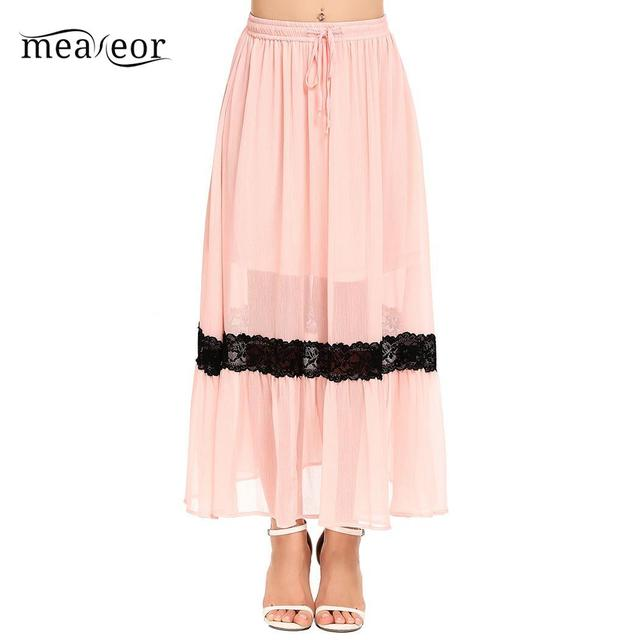 meaneor Lace Waist Skirt Patchwork Pleated Lace Up Elastic Casual Women