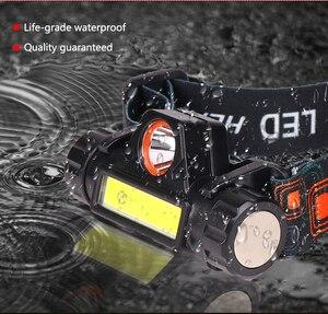 Image 5 - 휴대용 미니 led 전조 등 xpe + cob led 헤드 라이트 헤드 램프 손전등 토치 lanterna 헤드 라이트 캠핑 용 배터리 내장