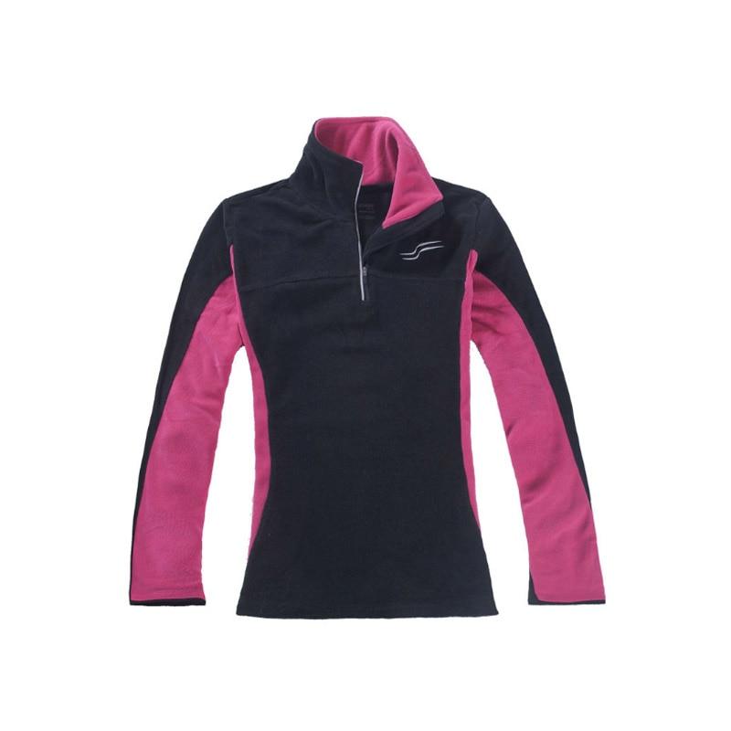 Women Outdoor Climbing Hiking Fleece Jacket Full sleeve half zipper Shirt Thermal Sport Coat Quick dry Comfortable Pullover XL S