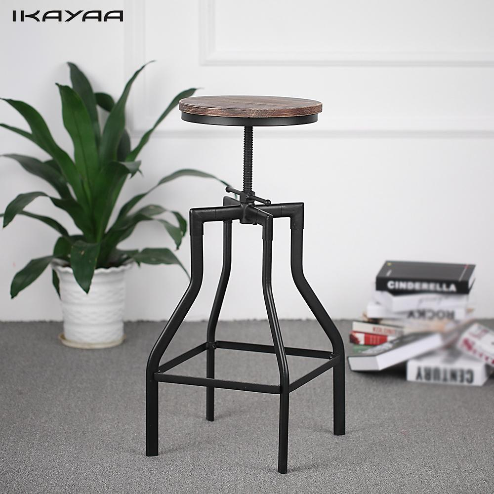 Bar Furniture Strong-Willed Ikayaa Height Adjustable Swivel Bar Stool Industrial Style Natural Pinewood Top Metal Bar Stool Home Furniture Us Fr De Stock Furniture