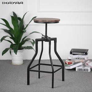 iKayaa Height Adjustable Swivel Bar Stool Industrial Style Natural Pinewood Top Metal Bar Stool Home Furniture US FR DE Stock