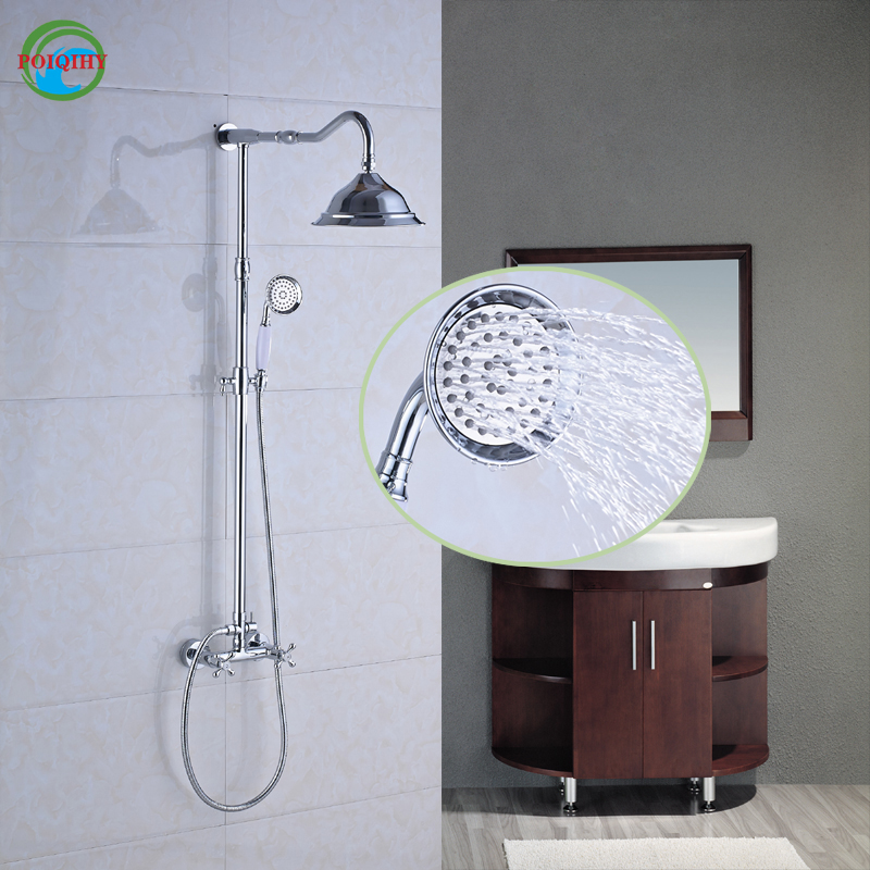 Chrome Finish Dual Handles with Hand Held Shower 8 inch Brass Shower Head Bathroom Shower Faucet Mixer Taps wall mount thermostatic shower faucet mixers chrome dual handle bathroom hand held bath shower taps