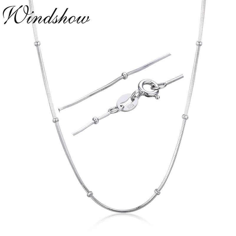 Collier en argent Sterling 925 fin 35-80cm, avec perles serpent, chaîne ras du cou pour femmes et filles, bijoux corporels, Collier