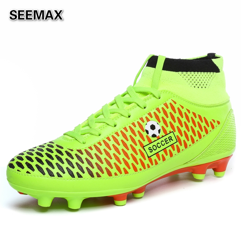 2016 Brand Soccer Shoes Men's High Top Soccer Cleats Boots AG Botas de Futbol Football Shoes High Ankle Zapatillas Cleats Boots