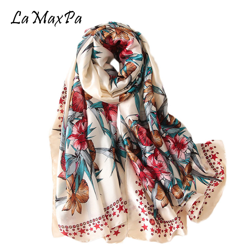 LaMaxPa Newest Print Flower Shawl For Women Simulation Silk Scarf Female Elegante Echarpe Mujer Chal Lady Soft Scarf 90x180cm