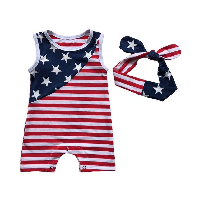 e8aea2ac5779 Baby boys outfits american flag Patriotic girl gowns newborn infant 4th of july  rompers navy blue baby jumpersuits girls clothes