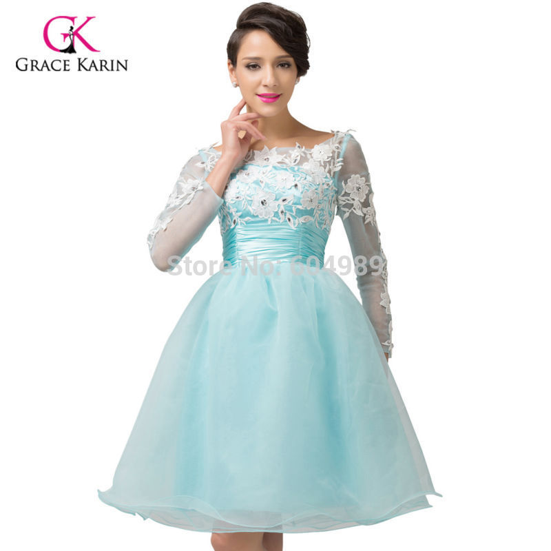 1713f9a804 2017 Prom Dress Grace Karin Pale Turquoise Blue Lace Long Sleeves Organza  Short Backless Gown Homecoming Prom Dresses 6128-in Prom Dresses from  Weddings ...