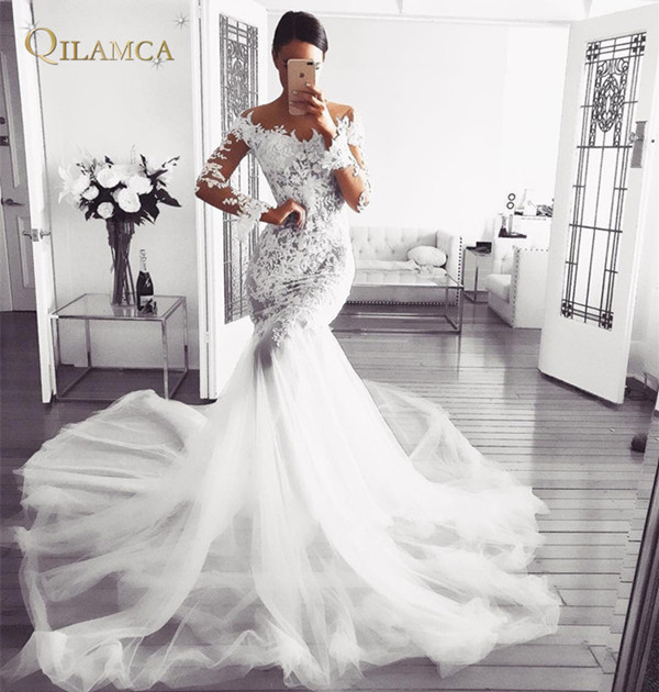 Mermaid Long Sleeve Tulle Lace Beading Sexy Bride Wedding Dresses 2019 New Fashion Wedding Gowns Custom Made