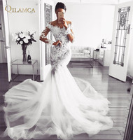 Mermaid Long Sleeve Tulle Lace Beading Sexy Bride Wedding Dresses 2018 New Fashion Wedding Gowns Custom Made