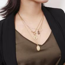 Vanmos Multi Layer Face Pattern Pendant Necklace Virgin Mary Fashion Statement Jewelry for Women Gift