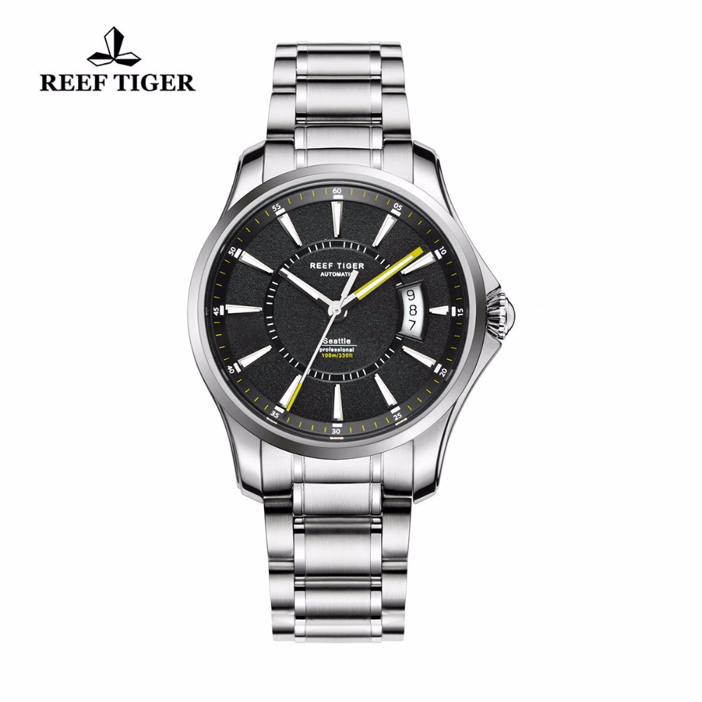 Reef Tiger/RT Sports Watch Super Luminous Stainless Steel Watches With Big Date Automatic Watch for Men RGA166 2x yongnuo yn600ex rt yn e3 rt master flash speedlite for canon rt radio trigger system st e3 rt 600ex rt 5d3 7d 6d 70d 60d 5d