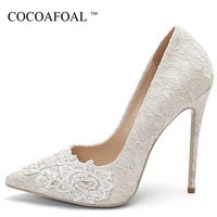 COCOAFOAL Sexy Woman High Heels Shoes Heel Shoes Women's White Embroider Plus Size Pointed Toe Pumps Party Stiletto Graffiti
