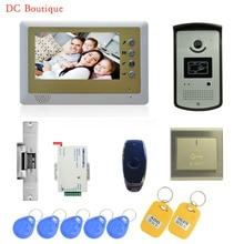 (1 set) Video Door Phone Door Bell Intercom Color Monitor Access Control Exit button Remote Unlock RFID key fob Free shipping