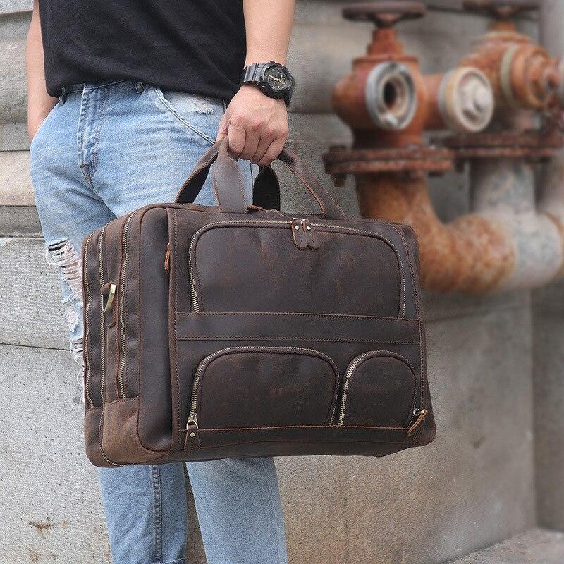 Vintage Crazy Horse Leather Handbags Men Tote Portfolio Document Office Bags Casual Men Messenger Bags Male Shoulder Bags