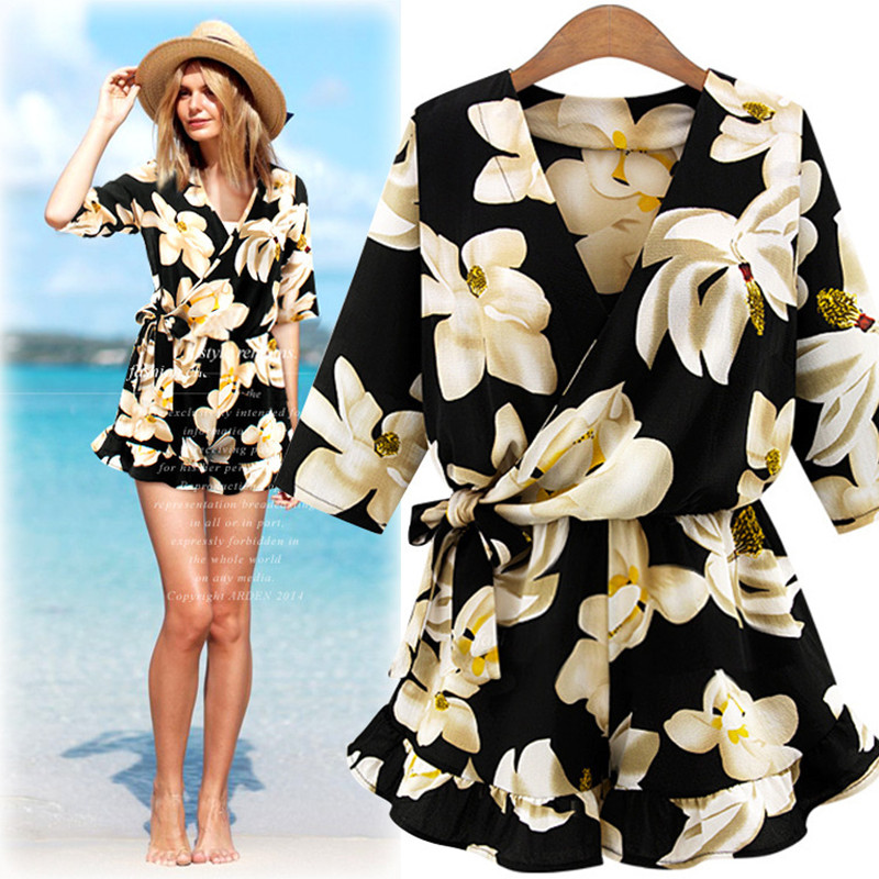 Sexy Playsuit Women Solid Vintage Rompers Short Sleeve Slash Neck Short Overalls Top Women Clothes Casual Summer Beach Jumpsuits