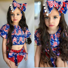 Baby Girl Clothes Toddler Baby Girl Kid Midriff-baring Shirt Flag Day 4th of July Striped Star Print Tops+ Shorts Outfits Set(China)