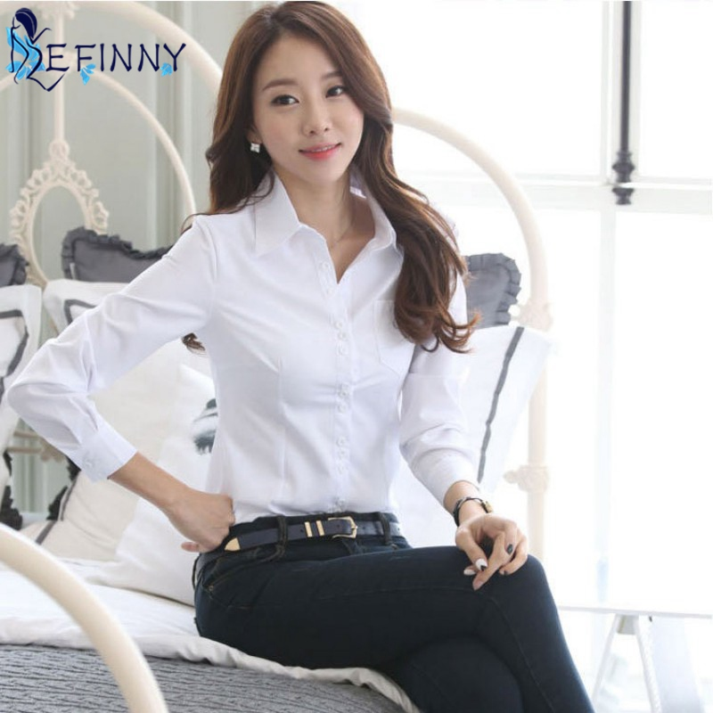 Summer Women Office Sleeve Collar   Shirt   Party Lady Solid Formal Slim Long White   Blouse   Casual Tops