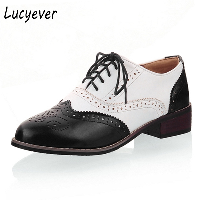 Lucyever Leisure round toe handmade leather shoes woman vintage patchwork carved oxford shoes for women plus size 34-43 fashion round toe lace up women flat oxford shoes size 34 43 shoes woman vintage carved oxford shoes for women ladies oxfords
